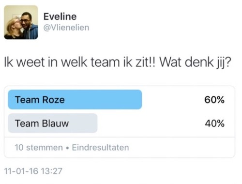 Team roze of team blauw?